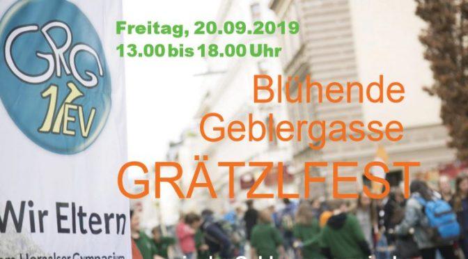 """Grätzlfest """"Blühende Geblergasse"""" am Freitag, 20. September 2019, 13:00 bis 18:00"""